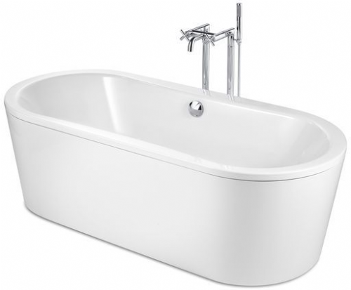Roca Duo Plus Oval Freestanding Rectangular Steel Bath 1800mm x 800mm 0 Tap Hole White